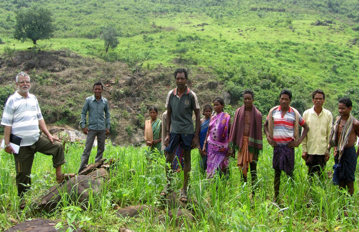 Achyut Das standing first from the right with the farmers of Kabatil village of Kashipur block